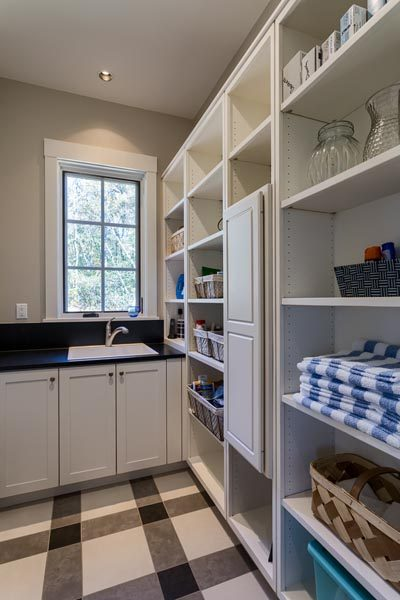 Custom White Pantry Shelving and Cabinets