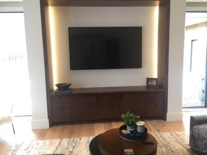 Backlit Home Entertainment Center & Cabinets By Garner Woodworks