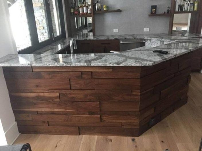 Custom Built Wood & Marble Bar Created By Garner Woodworks