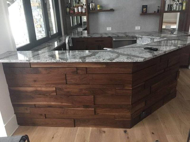 Custom Built Wood & Marble Bar Created By Garner Woodworks