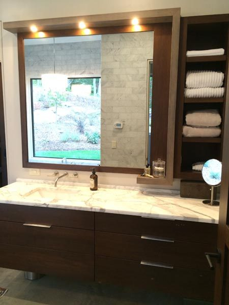 Marble Bathroom Counter Top & Wood Cabinetry