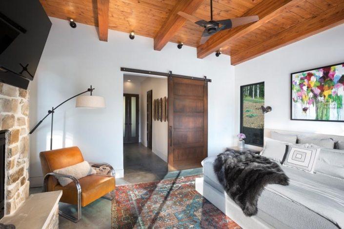 TV Room With Custom Built Door From Garner Woodworks
