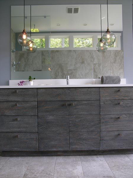 Close Up View of Gray Cabinetry Designed & Built By Garner Woodworks