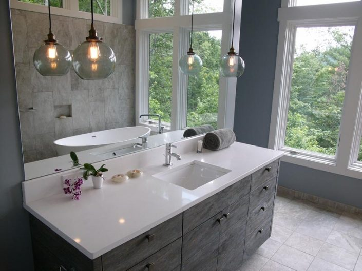 White Marble and Grey Stained Wooden Cabinet Built By Garner Woodworks