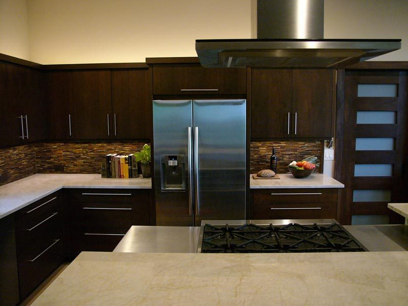 White Marble Counter Top In Kitchen By Garner Woodworks
